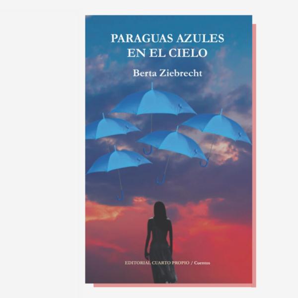 Paraguas azules en el cielo